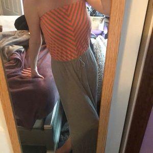 Grey and Orange Strapless Maxi Dress!